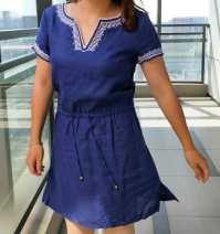 Women's large Summer 2021 Blue, white two , eight Dress singleton  Socket Short sleeve hemp Embroidery Medium length