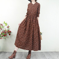 Dress Autumn 2020 There are four kinds of flowers on the bottom of coffee, red, blue, Tibetan, gray, blue, jujube, brown, yellow and orange Average size longuette singleton  Long sleeves Sweet V-neck Loose waist Broken flowers Socket Big swing routine Others Type H 51% (inclusive) - 70% (inclusive)