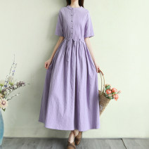 Dress Summer 2021 Purple, green, orange, white, pink Average size longuette singleton  Short sleeve Sweet Crew neck Loose waist Solid color Single breasted Big swing routine Others Type H Pocket, lace up, button 51% (inclusive) - 70% (inclusive) hemp Mori