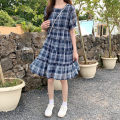 Dress Summer 2021 M,L,XL,2XL,3XL,4XL Mid length dress singleton  Short sleeve commute Crew neck Loose waist lattice Socket A-line skirt puff sleeve Others 18-24 years old Type A Korean version Ruffles, stitching 71% (inclusive) - 80% (inclusive) Chiffon