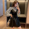 Dress Spring 2021 Picture color L,XL,2XL,3XL,4XL Middle-skirt Fake two pieces Long sleeves commute Polo collar High waist stripe zipper A-line skirt routine Others 18-24 years old Type A Korean version Lace up, button 71% (inclusive) - 80% (inclusive) other other