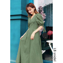 Dress Summer of 2019 White, green, black S,M,L Mid length dress singleton  Short sleeve Sweet V-neck High waist Socket Big swing puff sleeve Type A LB snidel Hollowed out, embroidered, button solar system