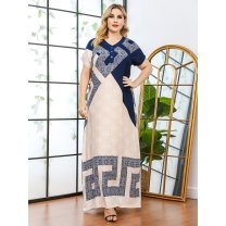 Dress Summer 2021 black L,XL,2XL,3XL longuette singleton  Short sleeve street Crew neck High waist Decor Socket Big swing routine 25-29 years old Type H Other / other printing polyester fiber Europe and America