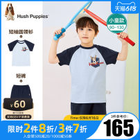 suit Summer 2021 Hush Puppies / Hush Puppies 3 years old, 4 years old, 5 years old, 6 years old, 7 years old, 8 years old, 9 years old, 10 years old male summer Short sleeve + pants Thin leisure time 2 pieces cotton Cartoon animation Condom nothing Class A There are models in the real shot