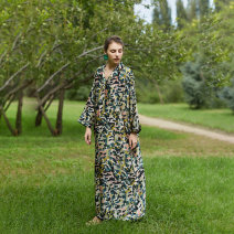 Women's large Spring 2021 Picture color Large L, M Dress singleton  Sweet easy moderate Socket Long sleeves Animal pattern V-neck printing and dyeing Q114 The robe of Dancing Flower meat pocket longuette Bohemia