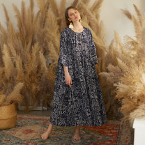Dress Summer 2020 Picture color M, L longuette singleton  three quarter sleeve commute Crew neck Loose waist Abstract pattern Socket Big swing Bat sleeve Type A The robe of Dancing Flower meat ethnic style Pleating, stitching, strapping, printing C40