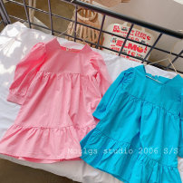 Dress Strong blue, cherry powder female Other / other 90cm recommended height (size 5), 100cm recommended height (size 7), 110cm recommended height (size 9), 120cm recommended height (size 11), 130cm recommended height (size 13) Other 100% spring and autumn Korean version Long sleeves Solid color