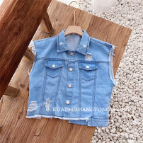 Vest neutral blue 90cm recommended height (size 5), 100cm recommended height (size 7), 110cm recommended height (size 9), 120cm recommended height (size 11), 130cm recommended height (size 13) Other / other summer routine No model Single breasted Korean version Denim other AS8286