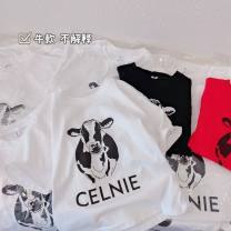 T-shirt Red, black and white Other / other Recommended height of 100cm (clothing label 110), 110cm (clothing label 120), 120cm (clothing label 130), 130cm (clothing label 140), 140cm (clothing label 150), 150cm (clothing label 160) currency summer Short sleeve Crew neck Korean version No model cotton