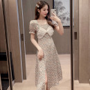 Dress Summer 2021 Picture color S,M,L,XL Mid length dress singleton  Short sleeve commute square neck High waist Broken flowers Socket A-line skirt puff sleeve 18-24 years old Type A Korean version Splicing, mesh 51% (inclusive) - 70% (inclusive)
