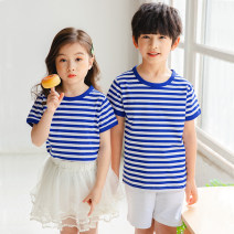 T-shirt Red, black, sky blue Zeng Fuzi neutral summer Short sleeve Crew neck leisure time There are models in the real shooting nothing modal  stripe Modal fiber (modal) 50% cotton 45% polyurethane elastic fiber (spandex) 5% Class A Sweat absorption Chinese Mainland Guangdong Province zhongshan