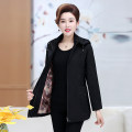 Middle aged and old women's wear Autumn of 2019 Red, green, black commute Jacket / jacket easy singleton  Solid color 40-49 years old Cardigan moderate Hood Medium length (length 50-70cm) routine Cotton, others 81% (inclusive) - 90% (inclusive) zipper Simplicity