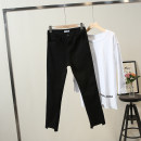 Women's large Korean version trousers Spring 2020 commute trousers moderate The recommended weight for 1XL is 120-140 kg, that for 2XL is 140-160 kg, that for 3XL is 160-180 kg, and that for 4XL is 180-200 kg black