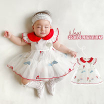 Dress white female Other / other 73cm,80cm,90cm,100cm Cotton 99% other 1% summer princess Short sleeve Cartoon animation cotton A-line skirt Class A 12 months, 6 months, 9 months, 18 months, 2 years old Chinese Mainland