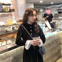 Dress Autumn 2020 black S,M,L,XL Mid length dress singleton  Long sleeves commute Lotus leaf collar High waist Solid color Socket A-line skirt routine Others 18-24 years old Type A Other / other Korean version Button
