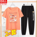 suit NGGGN 110cm 120cm 130cm 140cm 150cm 160cm 165cm female summer leisure time Short sleeve + pants 2 pieces Thin money There are models in the real shooting Socket No detachable cap other cotton children Expression of love Class B Cotton 100% Summer 2021 Chinese Mainland Hubei province Wuhan City