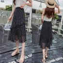 skirt Summer 2021 S,M,L,XL Black, white longuette Versatile High waist A-line skirt Dot Type A other