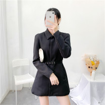 suit Spring 2021 black XS,S,M,L Long sleeves Medium length Self cultivation Polo collar Single breasted commute routine Solid color 25-29 years old 30% and below polyester fiber Button