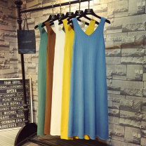 Dress Autumn 2020 khaki , green , black , turmeric , Apricot white , Retro Blue , Brown coffee Average size longuette singleton  Sleeveless commute V-neck High waist Solid color Socket A-line skirt other Others 18-24 years old Type A Korean version 51% (inclusive) - 70% (inclusive) knitting other