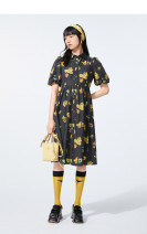 Dress Summer 2021 black S,M,L,XL singleton  Short sleeve commute tailored collar High waist Broken flowers Single breasted Big swing puff sleeve Others 18-24 years old Type X Peacebird Button A6FAB2146 other polyester fiber