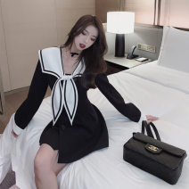 Dress Spring 2021 Black, white S,XL,L,M Middle-skirt singleton  Long sleeves commute Admiral middle-waisted Solid color Socket A-line skirt routine Others 18-24 years old One for one Splicing, three-dimensional decoration, 3D 51% (inclusive) - 70% (inclusive) other polyester fiber