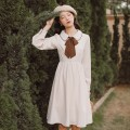 Dress Spring 2021 Apricot S M L Mid length dress singleton  Long sleeves commute Doll Collar High waist Solid color Socket A-line skirt routine Others 18-24 years old Silvermoon / Selmo literature Bow tie button 2680AFduoDL0 51% (inclusive) - 70% (inclusive) polyester fiber