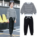 suit Other / other female spring and autumn Korean version Long sleeve + pants 2 pieces routine There are models in the real shooting Socket nothing stripe cotton children Giving presents at school Class B Other 100%