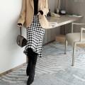 skirt Winter 2020 S,M,L,XL black and white longuette commute High waist A-line skirt lattice Type A 30-34 years old 30% and below Goluerji / gelijie wool Ol style