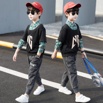 suit Nalanpig / Nalan pig Dark green, black 110cm,120cm,130cm,140cm,150cm,160cm,170cm male spring and autumn leisure time Long sleeve + pants 2 pieces routine There are models in the real shooting Socket nothing children Learning reward BT01011M