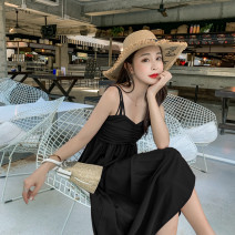 Dress Summer 2021 Black, red S,M,L longuette singleton  commute High waist Solid color Socket camisole Type A Simplicity 51% (inclusive) - 70% (inclusive) other polyester fiber