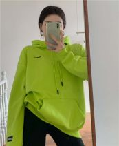 Sweater / sweater Autumn 2020 White, fluorescent green Average size Long sleeves routine Socket singleton  routine Hood Straight cylinder commute routine letter 18-24 years old Korean version Drawstring, pocket, print, embroidery