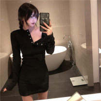Dress Autumn 2020 Apricot, black Average size Short skirt singleton  Long sleeves commute Crew neck High waist Solid color Socket other routine Others 18-24 years old Other / other Korean version Button