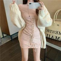 Dress Autumn 2020 Grey, black, pink Average size Short skirt singleton  Long sleeves commute Half high collar High waist Solid color Socket other routine Others 18-24 years old Other / other Korean version Bandage 51% (inclusive) - 70% (inclusive) other