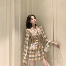 Dress Autumn 2020 lattice S, M Short skirt singleton  Long sleeves commute tailored collar High waist lattice other other routine Others 18-24 years old Korean version Lace up, button