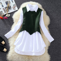 Dress Autumn 2020 Black, yellow, green, white single shirt, black single vest, yellow single vest, green single vest Average size Mid length dress Two piece set Long sleeves commute Polo collar Solid color A-line skirt shirt sleeve Others Type A Korean version other cotton