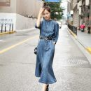 Dress Spring 2021 blue M,L,XL,2XL longuette singleton  three quarter sleeve commute stand collar middle-waisted Solid color Socket Ruffle Skirt shirt sleeve Others 25-29 years old Type X Other / other Korean version Ruffles, folds, pockets, lace UPS, rags, buttons More than 95% Denim cotton