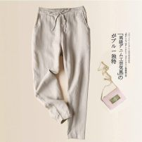 Women's large Summer of 2019 Black, white, Dark Khaki, pink, light khaki S,M,L,XL,2XL,3XL,4XL,5XL trousers singleton  commute easy thin Korean version cotton 25-29 years old 71% (inclusive) - 80% (inclusive) Ninth pants