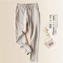 Women's large Summer of 2019 Black, white, Dark Khaki, pink, light khaki S,M,L,XL,2XL,3XL,4XL,5XL trousers singleton  commute easy thin Korean version cotton 25-29 years old 71% (inclusive) - 80% (inclusive) Ninth pants