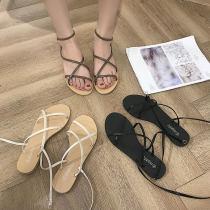 Sandals 35 36 37 38 39 Brown Black off white Veenvason / jifansuo PU Barefoot Flat bottom Flat heel (1cm or less) Summer of 2018 Flat buckle rubber PU