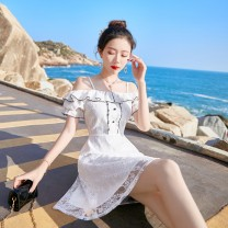 Dress Summer 2021 white XS,S,M,L Short skirt singleton  Short sleeve Sweet One word collar High waist Solid color zipper Big swing Lotus leaf sleeve camisole 18-24 years old Type X The charm of clothes Lace Ruili