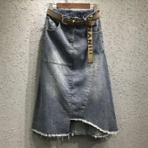 skirt Summer 2021 S,M,L,XL,2XL,3XL Picture color spot promotion special price belt plus 8 longuette commute High waist Irregular Solid color Type A 18-24 years old More than 95% Denim Ocnltiy cotton Pocket, asymmetrical Korean version