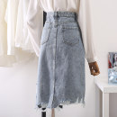 skirt Summer 2021 S,M,L,XL wathet longuette commute High waist A-line skirt Solid color Type A 18-24 years old More than 95% Denim Ocnltiy cotton Korean version