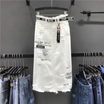 skirt Summer 2021 S,M,L,XL white longuette commute skirt Solid color Type H More than 95% Denim Ocnltiy cotton Three dimensional decoration, holes, printing Korean version
