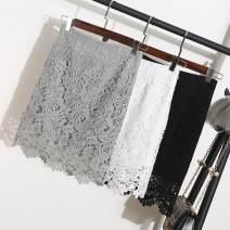 skirt Summer 2021 S,M,L,XL,2XL White, light grey, black Short skirt Versatile High waist A-line skirt Solid color Type A 18-24 years old More than 95% Lace Ocnltiy other
