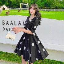 Dress Summer 2021 black S,M,L,XL Middle-skirt singleton  Short sleeve commute other High waist Dot Socket A-line skirt routine 25-29 years old Type A Retro zipper other