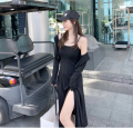 Dress Summer 2021 Black top, grey top, black suspender skirt, grey suspender skirt, black suit, grey suit S,M,L,XL Mid length dress Two piece set Sleeveless commute Hood Solid color camisole Type A Korean version knitting