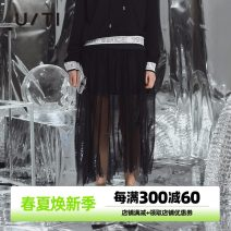 skirt Autumn 2020 34/155/S 36/160/M 38/165/L black Mid length dress street Natural waist Irregular Type A 25-29 years old UF303126A390 More than 95% U/TI polyester fiber Sequins Polyester 100% Europe and America
