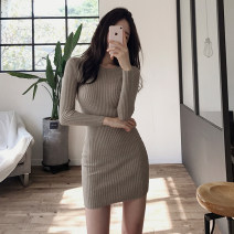 Dress Autumn 2020 Black, khaki, apricot Average size Middle-skirt singleton  Long sleeves commute Crew neck middle-waisted Solid color Socket routine Others 25-29 years old Type H Korean version Splicing 81% (inclusive) - 90% (inclusive) knitting cotton