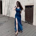 Dress Summer 2020 Peacock blue, army green, black, gray blue, mustard yellow, Long Sleeve Black, long sleeve peacock blue, long sleeve gray blue S,M,L longuette singleton  Short sleeve commute V-neck High waist Solid color Socket Big swing routine Breast wrapping 25-29 years old Type H Korean version