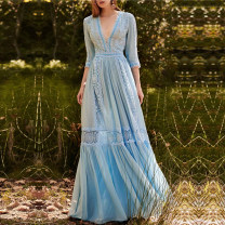 Dress Summer 2021 blue S,M,L longuette singleton  three quarter sleeve street V-neck High waist Solid color zipper Big swing routine Others 25-29 years old Type X Qu wanjiamei Ruffles, hollows, folds, stitches, lace 91% (inclusive) - 95% (inclusive) Lace polyester fiber Europe and America